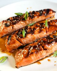 """Salmon Teriyaki - n the Japanese kitchen, """"teriyaki"""" means a dish that's glazed and grilled or broiled."""