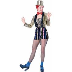 Next time you go to see the Rocky Horror Picture Show make sure you dress the part. This ladies Columbia costume is the ideal costume for any Rocky Show fan. - Gold sequin tailcoat - Sequin tube top -