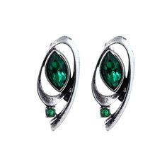 Horace Eye Twirled Metal Tyrian Green Gemstone Statement Earrings