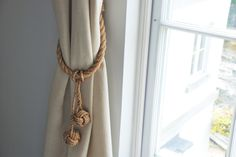 Manila Rope Hanging Monkey Fist Knot Removable Tassel Curtain Tie Backs/ Nautical Ties / Rope Ties/ Rustic Hold Backs/ Shabby Chic window by AndreaCookInteriors on Etsy