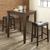 Found it at Wayfair - Crosley Three Piece Pub Dining Set with Tapered Leg Table and Saddle Seat Barstools in Vintage Mahogany