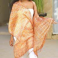 Silk batik scarf - Romantic Sunset | NOVICA