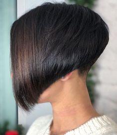 Short Trendy Concave Bob Concave Bob Hairstyles, Bob Hairstyles For Fine Hair, Short Bob Haircuts, Black Hairstyles, Weave Hairstyles, Bold Haircuts, Pixie Hairstyles, Undercut Bob Haircut, Undercut Pixie