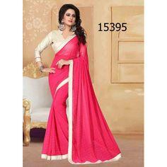 Designer Georgette Pearls Pattern Party Wear Pink Saree - 15395 ( ML - 896 )