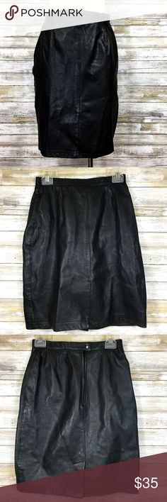 Vintage 1980s Bagatelle Black Leather Pencil Skirt I have the strongest desire to pair this skirt with that Dockers shirt I have listed - the one with the crests all over it? Can you imagine it? And with a majestic pair of retro shoes (I'll be listing some really great ones in the coming weeks).  This is a vintage 1980's genuine leather skirt from Bagatelle. The leather is amazingly soft. Skirt is a fully lined pencil skirt with snap and zipper closure and slit in the back.  See first…