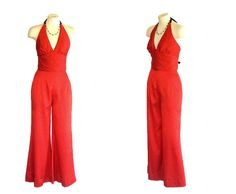 1970s Jumpsuit Vintage 1960s Red Polka Dot Outfit Halter Top Bell Bottom Pants Hippie Retro S