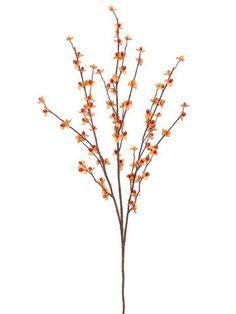 "Bittersweet Silk Flower Branch Spray in Orange and Yellow<br>32"" Tall"