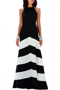 #Spring #AdoreWe #Oasap.com - #Azbro Bold Striped Print Color Block Halter Maxi Dress - AdoreWe.com