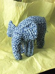 Here's another pattern that makes its way from knitter to knitter at my son's school. I've retooled it for you here. I most often use Lamb's Pride, but it looks great small in a lighter weight yarn and big using two different shades of gray LP held together. Of course, a Kureyon elephant would be very cool.