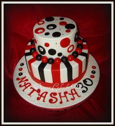 Funky red, Black & White 30th Birthday Cake by Designer Cakes by Deb, via Flickr