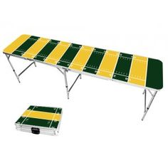 Each table is 2 feet by 8 feet and folds down to a 2 feet by 2 feet latching case with a handle for easy transport. 6 pong balls with ball holder included. Blue Football, Browns Football, Football Field, Beer Pong Tables, Ping Pong Table, Tailgate Games, Tailgating, Hunter Green, Purple Gold
