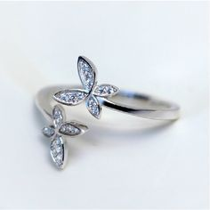 Cubic Zirconia Two Flowers Adjustable Size 925 Sterling Silver Ring