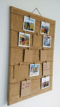 PHOTO or Message PEG & Push PIN Hessian Board / Rustic Burlap Polaroid Display / Fabric Cork Board Notice Board / Push Pins Board Peg and string photo or memo board / wedding photo board / planning board / table plan Burlap Crafts, Fabric Crafts, Diy And Crafts, Paper Crafts, Notice Board Decoration, Polaroid Display, Polaroid Photos, Fabric Corkboard, Photo Boards