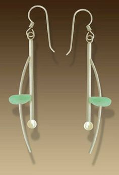Mar Jewelry - Brushed Sterling Silver and Sea Glass Earrings with white freshwater pearls