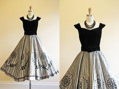 Neckline.  50s Dress  Vintage 1950s Dress  Black Silver Flocked by jumblelaya