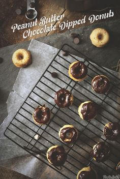 Peanut Butter Chocolate Dipped Donuts