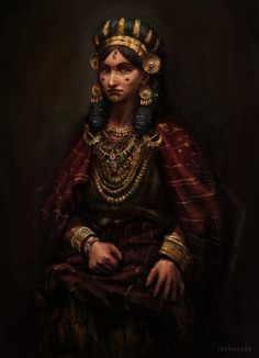 Reconstruction of the outfit of Mycenaean noblewomen by Juan Alvarez de Lara on ArtStation