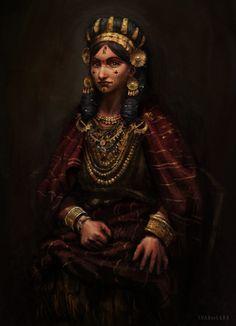 Reconstruction of the outfit of Mycenaean noblewomen by Juan Alvarez de Lara on ArtStation