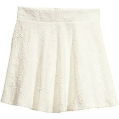 H&M Circular skirt (€9,00) ❤ liked on Polyvore featuring skirts, bottoms, h&m skirts, short white skirt, white jersey, white circle skirt and short skirts