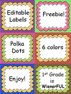 Polka Dot Editable Labels with cute banners!  6 different color combinations:  Purple/yellow, Green/Pink, Hot Pink/Green, Red/Yellow, Blue/Yellow, Brown/Green!