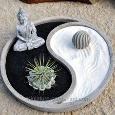 zen garden Miniature Gardening - Yin Yang Cement P - Miniature Zen Garden, Mini Zen Garden, Garden Art, Japanese Garden Zen, Indoor Zen Garden, Mini Cactus Garden, Garden Types, Zen Garden Design, Patio Design