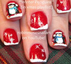 Nail-art by Robin Moses. Happy Feet Penguins! http://www.youtube.com/watch?v=hByhtw6HpG0