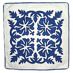 Grace's room - Hawaiian Hibiscus Quilted Pillow Cover- Royal Blue 18""