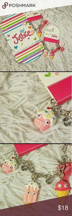 2 Justice food snack charmbracelet eye best friend 2 brand new with tags Justice brand googly eye Sweet Treats food charm bracelets four girls you get two of the same ones and the Justice boxes are included as well it has a silver tone chain with little rhinestones the food includes ice cream cupcake suites with little googly eyes on them this makes a great best friend gift no trades open to offers Justice Accessories Jewelry