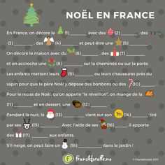 Fill in the Gaps - Christmas text in French French Travel Phrases, French Phrases, French Words, French Teaching Resources, Teaching French, French Christmas, Christmas Text, French Alphabet, Learn To Speak French