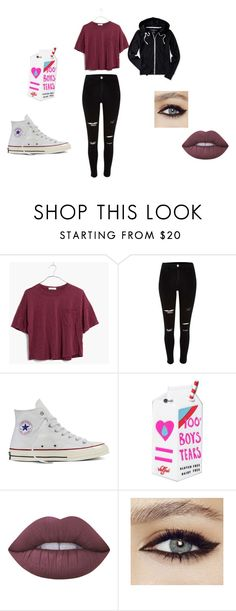 """Me pt. 6"" by squidneycayce on Polyvore featuring Madewell, River Island, Converse, Valfré, Lime Crime and Aéropostale"