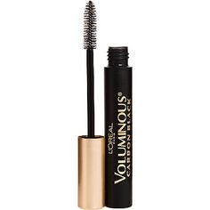 L'OréalVoluminous Carbon Black Volume Building Mascara ~ worn alone or on top of another mascara this makes my lashes look long and lush and ink black! Easy to wash off too