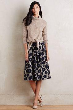 Floral Brocade Midi Skirt