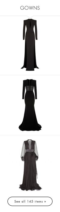 """""""GOWNS"""" by aitanas-closet ❤ liked on Polyvore featuring dresses, gowns, balmain, long dresses, vestidos, balmain dress, long sleeve evening gowns, balmain gowns, shoulder pad dress and long rayon dress"""