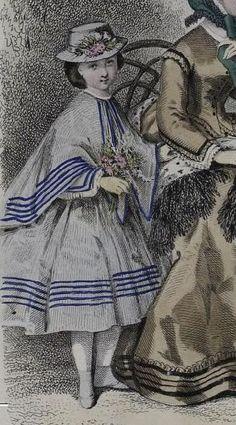 Fashion print with girl ca 1860