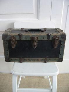 Suitcase Industrial Primitive Vintage Brown Case. $59.00, via Etsy.