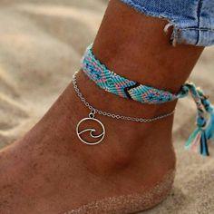 Rune Weave Handmade Cotton Anklet Bracelets For Women , Women jewelry bracelets Gothic Jewelry, Dainty Jewelry, Cute Jewelry, Boho Jewelry, Jewelry Accessories, Fashion Jewelry, Women Jewelry, Jewellery, Glass Jewelry