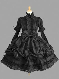 Élégante Pure longues manches Gothic Lolita robe noire