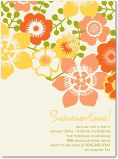 Party Invitations Summer Bouquet - Front : Tangerine