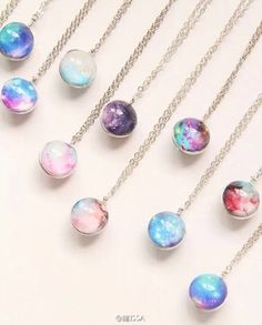 grafika necklace, galaxy, and accessories Glass Necklace, Crystal Necklace, Pendant Necklace, Galaxy Jewelry, Resin Jewelry, Kawaii Accessories, Jewelry Accessories, Magical Jewelry, Fantasy Jewelry
