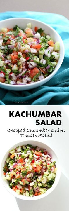 Kachumber Salad Cucumber Tomato Onion Salad Recipe Kachumbar is a simple Chopped Summer Salad with chopped onions tomatoes cucumbers and a salt pepper lemon dressing Ser. Indian Food Recipes, Vegetarian Recipes, Cooking Recipes, Healthy Recipes, Dishes Recipes, Veg Salad Recipes, Vegan Indian Food, Simple Salad Recipes, Simple Salads