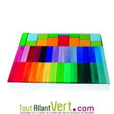 Boîte multijeux de 58 pièces en bois arc-en-ciel 29 couleurs dégradés 24x30.5cm achat vente écologique - Acheter sur ToutAllantVert.com