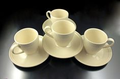 Cups and Saucers, Wedgwood, Windsor, Set of 4, Ribs and Dots, Cream Colored, Made in England by MountainAireVintage on Etsy