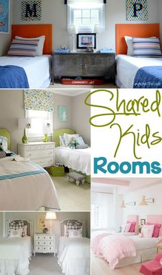 25 awesome shared kids rooms  Amy---the orange and blue room screams your boys...... I love it!! Everything you talked about!