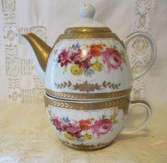 Vintage Royal Scotland Porcelain Tea For One Teapot Tea Cup Set