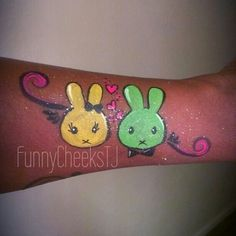 """A design I call """"Bunny Love"""". Face Painting Designs, Body Painting, Easter Face Paint, Henna Paint, Cheek Art, Child Face, Hand Art, Painting For Kids, Face And Body"""
