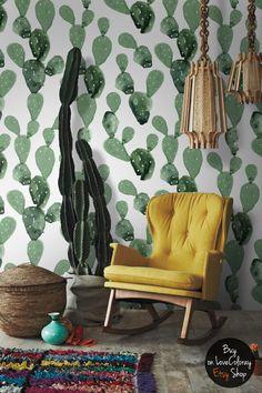 Papel pintado Removible Opuntia Cactus | Mural de pared de acuarela - pégalo & despégalo  #18