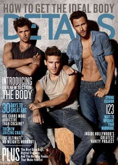 """Sean O'Pry, Arthur Kulkov and Noah Mills in """"Timeless Denim"""" by Carter Smith for the March 2011 issue of Details magazine"""