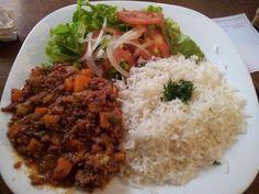 arroz e carne moida e salada - Google Search