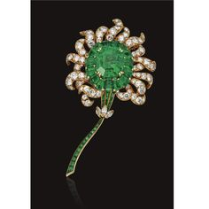 Emerald and diamond flower brooch, Van Cleef & Arpels, New York | Lot | Sotheby's