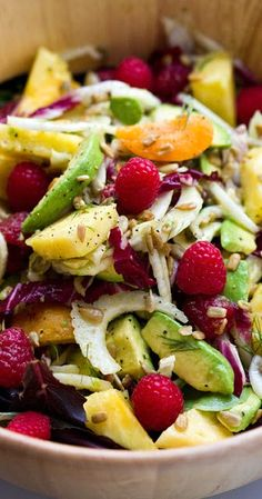 """sunny summer """"fruit"""" salad with sunny citrus dressing...."""